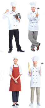 Pictures of working chefs and cooks